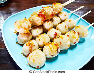 Grilled meat ball with sweet and spicy sauce