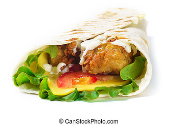 Grilled meat burrito with vegetables on white background