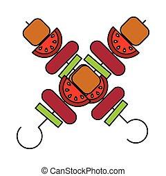 grilled meat kebab food picnic