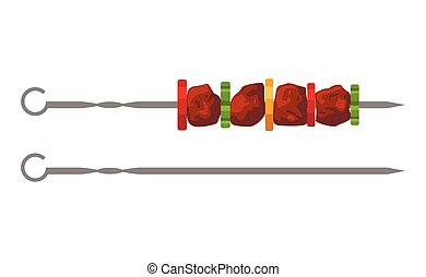 Grilled meat kebab skewers with vegetables BBQ isolated on white background. Shashlik or shish barbecue Vector Illustration