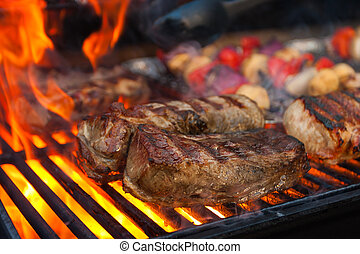 Grilled meat - Meat and vegetables char-grilled over flame