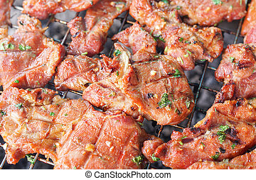 grilled meat on stove