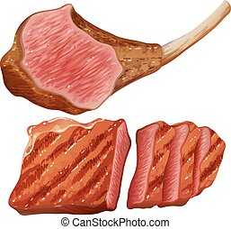 Grilled meat on white background