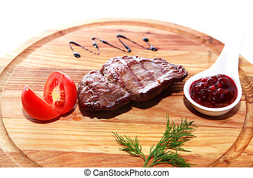 Grilled Meat On Wood