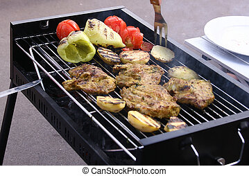 Grilled meat, pepper and tomatoes - BBQ grilled meat,...