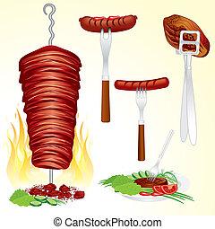 Set of assorted grilled meats-vector illustrations:inc hot dog, steak, doner kebab, shish kebab, veggies shish kebab