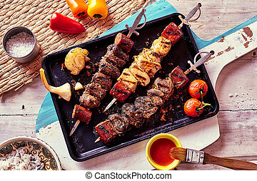 Grilled Meat Skewers with Fresh Ingredients