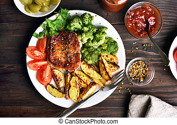 Grilled meat steak, barbecue with vegetables