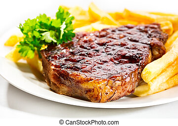 grilled meat with french fries