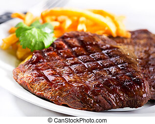 grilled meat - grilled steak with french fries
