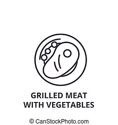 grilled meat with vegetables line icon, outline sign, linear symbol, vector, flat illustration
