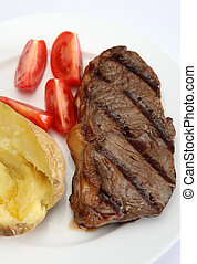 Grilled New York steak vertical - A grilled New York, ...