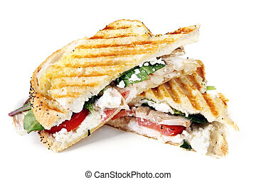 Grilled Panini - Grilled sandwich or panini. With goat's ...