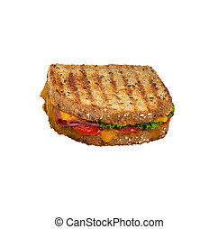 Grilled panini sandwich on multigrain bread. Isolated. - ...