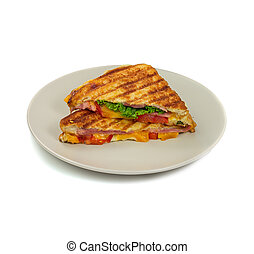 Grilled panini sandwiches on plate. Isolated. - Plate with...