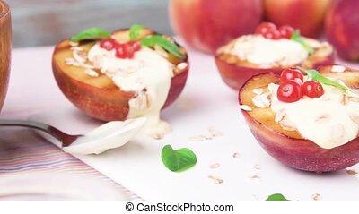 Grilled peaches dessert - Delicious Grilled peaches dessert.