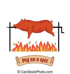 Grilled pig. Pig on spit. Roasting piglet. BBQ pork. Color...