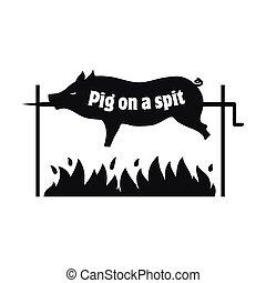 Grilled pig. Pig on spit. Roasting piglet. BBQ pork. Icon.
