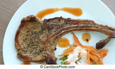 grilled pork chop steak salad - Video of grilled pork chop...