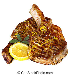 Grilled Pork Chops with Sage and Lemon over white