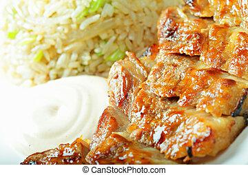 Grilled pork closeup