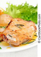 Grilled pork cutlet with orange sauce