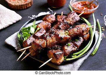 Grilled pork kebabs