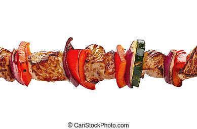 grilled pork meat and vegetables