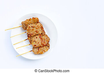Grilled pork on white background.