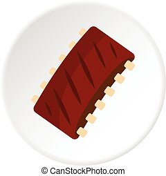 Grilled pork rib meat icon circle