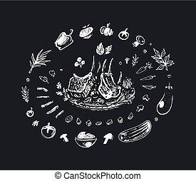 Grilled pork ribs chalk drawing. Vector art - Grilled pork ...