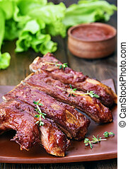 Grilled pork ribs - Delicious grilled pork ribs, close up...