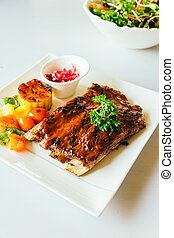 Grilled pork ribs with bbq sauce