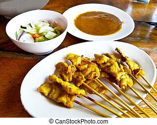Grilled pork satay with peanut sauce, Thai food