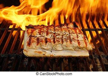 Grilled Pork Striploin and BBQ Flames, XXXL - Grilled Pork ...