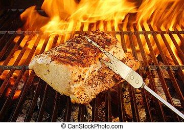 Grilled Pork Striploin, Fork and BBQ Flames, XXXL