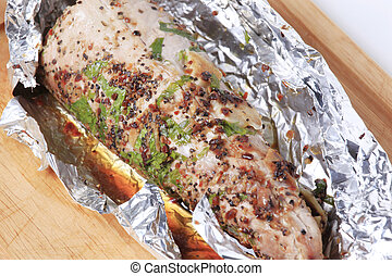 Grilled pork tenderloin - Spiced pork tenderloin grilled in...