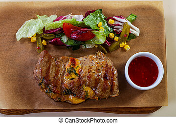 Grilled pork with cheese
