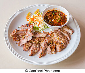 Grilled pork with dip sauce - Grilled pork with spicy chili...