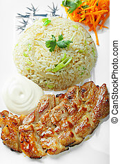 Grilled pork with rice above view