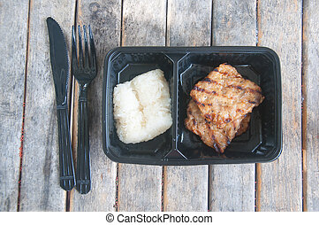 grilled pork with sticky rice in box