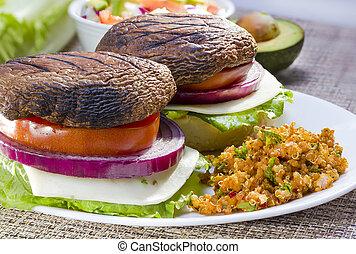 Grilled portabella burger. - Grilled portabella vegetarian...