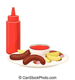 Grilled Potato Slices and Sausages Rested on Plate with Ketchup Sauce Vector Illustration