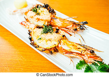 Grilled prawn or shrimp with sauce