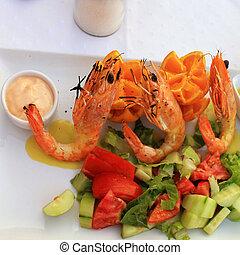 Grilled prawns and vegetable salad,square image