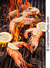 Grilled prawns - Fresh grilled prawns on fire