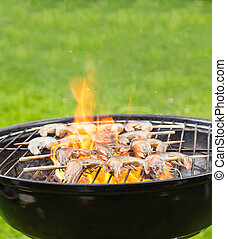 Grilled prawns on fire