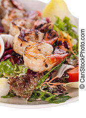 Grilled prawns with endive salad and jacket potato - Grilled...