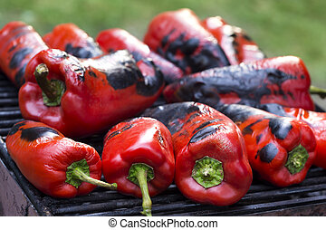 Grilled red pepper