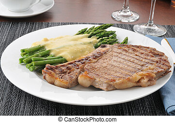 Grilled rib steak and asparagus - Grilled rib steak with...